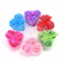 3Pcs Scented Rose Flower Petal Bath Body Soap Wedding Party gift for your good friend(China)