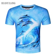BIANYILONG New 2017 Summer t-shirts Short sleeves Tops Tee shirt 3d print Dolphin t shirt men brand clothing men t-shirt