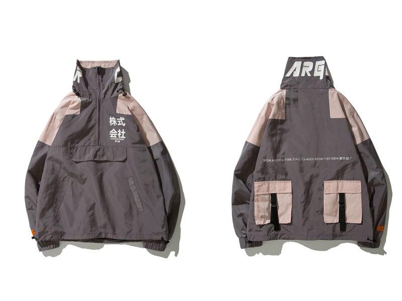 Color Block Patchwork Half Zipper Pullover Jackets 2
