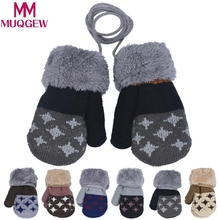 MUQGEW Winter Baby gloves full fingers boy girl mitten Cotton knitting Leaf Warm gloves infants mittens five stars printing(China)