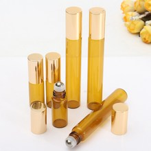 1pc 3ml 10ml Gold Glass Bottle Roll On Empty Fragrance Perfume Essential Oil Bottles With Stainless Steel Roller Ball Container