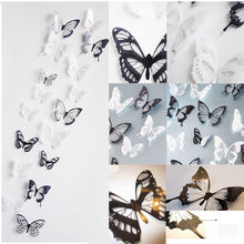 18 Pieces 3D Butterfly Crystal Transparent Decor Sticker Home Decoration Accessories Wall Art For Kids Rooms Decals New