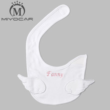 MIYOCAR Personalised Any name white wing lovely baby bib soft cotton angel baby bib set baby birthday gift baby shower gift(China)