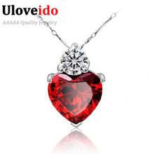 Uloveido Heart Pendants Necklaces Red Women's Necklace Crystal Jewelry Gifts Silver Plated Suspension Collar Pingentes 55641(China)