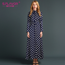 S.FLAVOR Brand women long dress 2017 Spring Autumn turtleneck long sleeve dress with dot Vintage vestidos with single button(China)