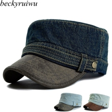 Adult top quality denim wash flat army hats women and men PU leather peak peaked baseball caps