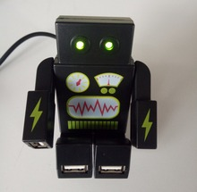 Robot Shape 4 Ports USB Hub with LED Light Eyes Movable Arms and Legs(China)