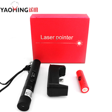 Professional Focus Beam Light Powerful Led Travel Laser Pointer Zoomable Green 532nm Laser Pen+18650 battery+charger(China)