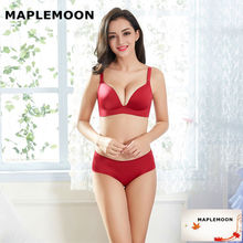 Pearl wine red gather bras thin V Type 3/4 cup Ladies Sexy underwear push up young women Bra & Brief Sets Wire free one piece