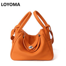 2017 Cow Genuine Leather Famous Designer Women Casual Tote Bags Handbags Hobo Shoulder Bag Solid High Capacity Hobos Bags Purse(China)