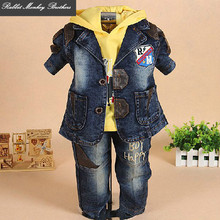 Baby boy clothes denim suit set spring and autumn denim coat Hooded sweater pants 3 piece set 0-1-2-3 years old baby boy sets(China)