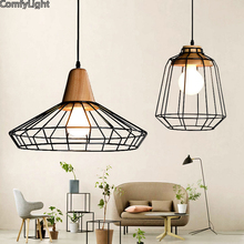 Nordic Pendant Lights For Home Lighting Modern Hanging Lamp Wooden iron Lampshade LED Bulb Bedroom Kitchen Light 90-260V E27(China)