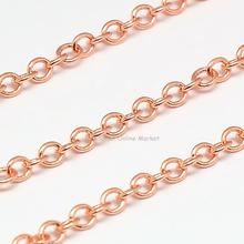 Electroplate Brass Cross Chains Cable Chains, Come on Reel, Rose Gold, 3mm