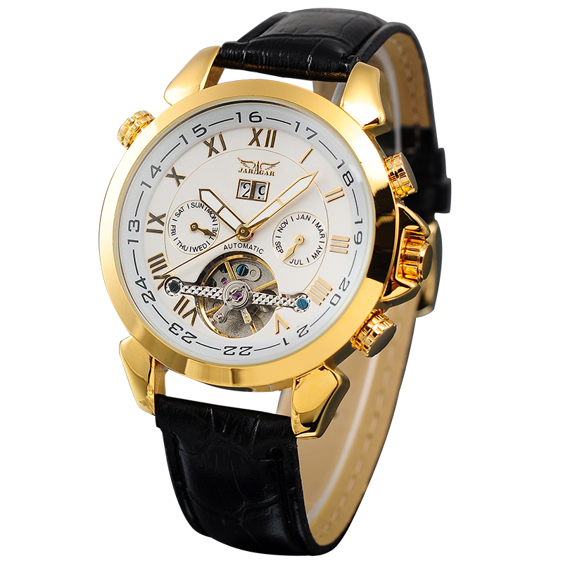 JARAGAR Mens Watches Luxury Golden Case Male Clock Rotatable Bezel Date Day Display Tourbillion Watch Auto Mechanical Relogios<br>