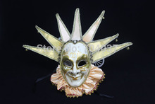 (1 piece/lot)  New orange color full-face pulp Venetian Jester mask Jolly masks