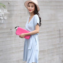 Summer Trend New Product Solid Color Chalaza A A-line Dress Korean V Lead Short Sleeve Dress M16158