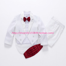 100% Quality Kids Blazers Suits White children tuxedo clothing Set For Boy's Piano performance flower girl costume formal dress