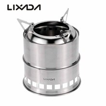 Lixada Wood Stove Burner+Alcohol Dish+Barbecue Grill Camping Stoves Portable Stainless Steel For Outdoor Cooking Picnic BBQ(China)