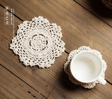 Handmade Cotton Mat Crocheted Lace Doilies Flower Shape Coasters Cup Mug Pad Home Coffee Shop Table Decoration Craft Photo Props
