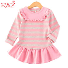 R&Z 2017 New Autumn Girl's Striped Dress Navy Style Fashion Cotton 2 Colors College Children's Clothing Fine Kids Clothes 3-7y