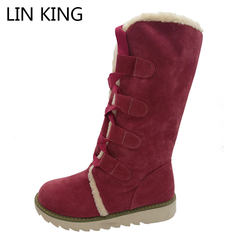 LIN KING Leopard Pattern Women Snow Boots Medium Wedges Creepers Lace Up Boots Lady Anti-skid Winter Warm Plush Shoes Big Size<br>
