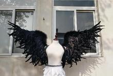Fashion Black angel wings Devil wings props catwalk show props festival Angel Feather wings Window props EMS free shipping