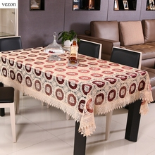 vezon New Europe Style Elegant Full Lace Tablecloths White Wedding Table Cloth Overlays Home Towel Wine Organza Textile