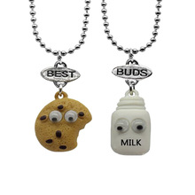 Free Shipping Best Friends Pendant Bead Chain choker Necklace Milk Cookie Biscuit Kids  Lead Free 2pcs/set choker