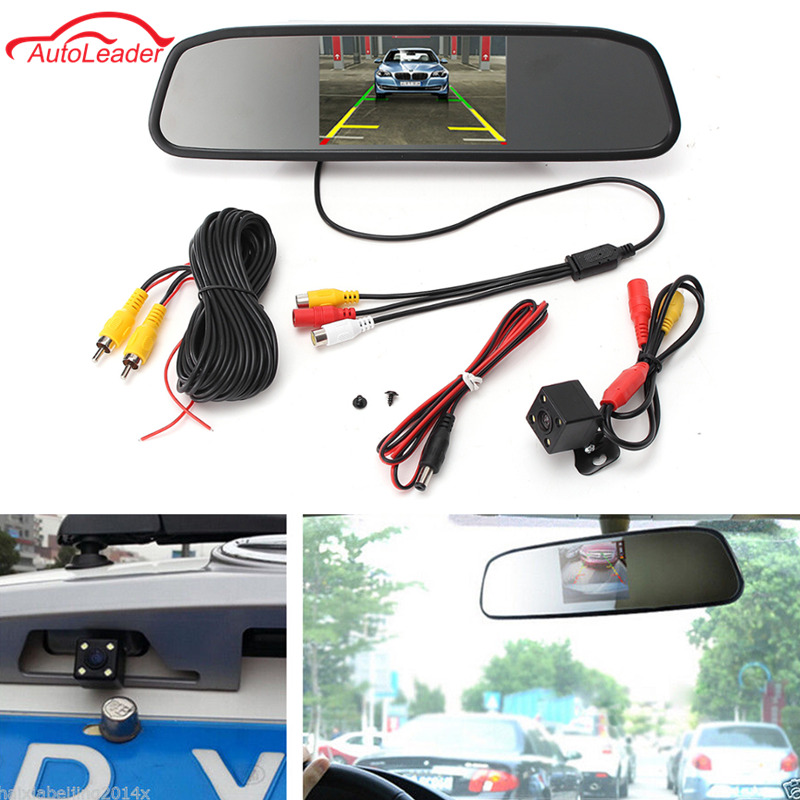 4.3 Inch Car Rearview Mirror Monitor Rear View Camera CCD Video Auto Parking Assistance 4 LED Night Vision Reversing Car-styling(China)