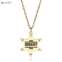 MQCHUN New Vintage Jewelry Western Texas Sheriff Ranger Cop Star Badge Rodeo Sheriff Necklace Men Women Party Accessory Gift(China)