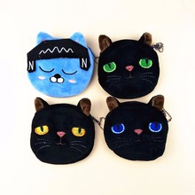 M167 Cute Cartoon Coin Purse Creative Black Cat Blue,Yellow ,Green Eyes ,Squinting Listen To The Music Blue Cat Wallet Card Bag(China)