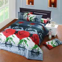 Autumn new arrival three-dimensional oil painting active 3d bed sheet four piece set flower bedding 4