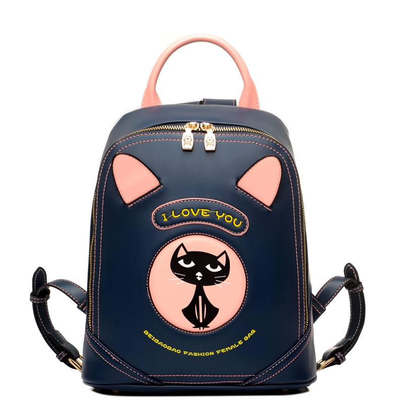 Cute Korean Small Women Shoulder Bag High Quality Leather Cartoon Printing Preppy School Bags For Teenagers Girls Daily Backpack<br>