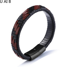 Europe and the United States creative black and brown textile men 's leather jewelry titanium steel bracelet friend gift