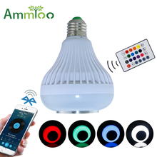 AC100-240V Bluetooth 4.0 Music Playing Audio RGBW Speaker Light 12W E27 LED Bulb Lamp for iOS Android with 24Keys Remote Control