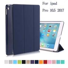 Case for iPad pro 10.5 2017 A1701 PU leather +Transparent Back Ultra Slim Light Weight Trifold Smart Cover  Auto Sleep+stylus
