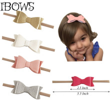 Newest 1 PC Girls Kid Synthetic Leather Hair Ties Hairbands Nylon Stretch Head Band Newborn Head Wrap