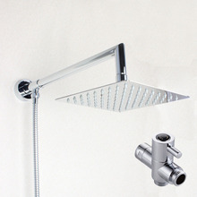 8 inch Square Rainfall Shower Head Extension Shower Arm Bottom Entry with T-adapter Shower Set 03-128