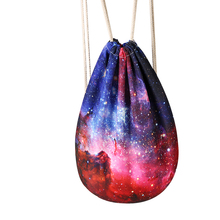 Colorful Starry Sky Purple Star Women Backpack Flower Cloud Draw Lady String Bag Famous Brand Portable Girl Rope Backpack