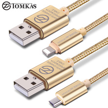 Tomkas Charger for iPhone 7 6 6s 5 iOS Fast Charging Micro USB Cable For Samsung Xiaomi Huawei HTC Sony Android Data Sync 1m 2A
