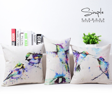 Purple Blue Watercolor Painting Hummingbird Bird Love Cushion Pillow Cover Decorative Pillowcase Linen Cotton Cushions Covers