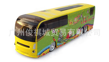 Interesting children's toy car, alloy die-casting, yellow green Christmas Edition, bus lovely cartoon model, intelligent toy car