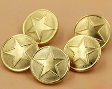 30pcs Five pointed stars uniform buttons gold buttons brass coat buttons sewing accessory