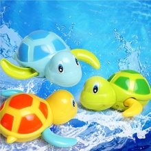 New Born Babies Infant Swim Turtle Wound-up Chain Small Animal Baby Children Toddler Bath Toy Classic Toys Random Color(China)