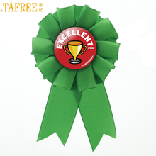 TAFREE classic Excellent Award ribbon rosette brooch pins Good Job Excellent Sporting Achievement badge brooches jewelry CT942(China)