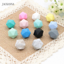 DIY 17MM Silicone Beads Icosahedron Beads Loose Beads Silicone Baby Teethers DIY Baby Shower Gift Nursing Chew Necklace 10PCS(China)