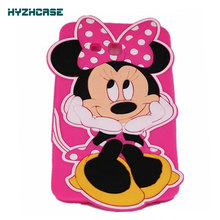 Tablet Protective Case For SAMSUNG GALAXY TAB 3 LITE 7.0 T110 T111 3D Cartoon Cute Hands On Face Minnie Case Silicon Back Cover