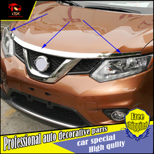 Car-styling ABS Chromium part Exterior For Nissan Rogue X-Trail T32 2014 - 2016 ABS Front Gill Engine Lid Trim 3 Pcs / Set