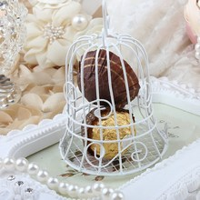 New Luxe White Bird Cage Wedding Party Gift Box Favor Metal Candy Chocolate Flower Decor