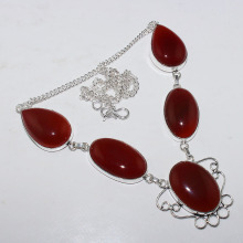 Carnelian  Necklace  Silver Overlay over Copper , 52.5 cm, N0954